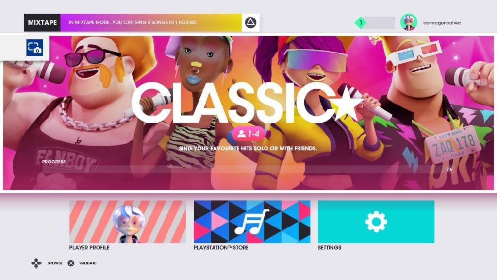 imagem que mostra o menu de modos do jogo