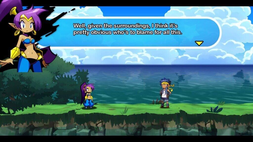 Shantae em sua roupa alternativa no início da aventura